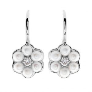 E2575-RH - RHODIUM BUTTON PEARL AND CZ FLOWER EARRINGS