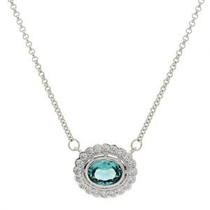 P942-G-OVAL-GREEN-CLEAR-CZ-PENDANT-ON-FINE-CHAIN