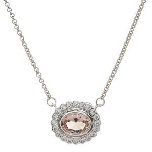 P942-M-OVAL-MORGANITE-CLEAR-CZ-PENDANT-ON-FINE-CHAIN