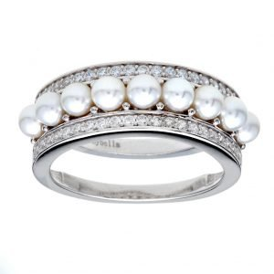 R2578 - RHODIUM FRESHWATER BUTTON PEARL AND CZ BAND RING