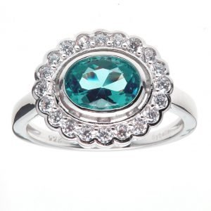 R755-G-OVAL-GREEN-CLEAR-CZ-RING