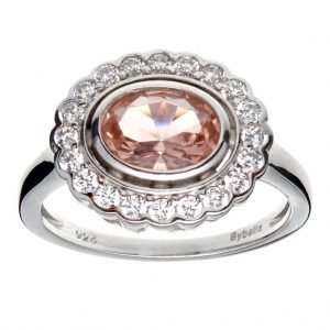 R755-M - OVAL MORGANITE & CLEAR CZ RING