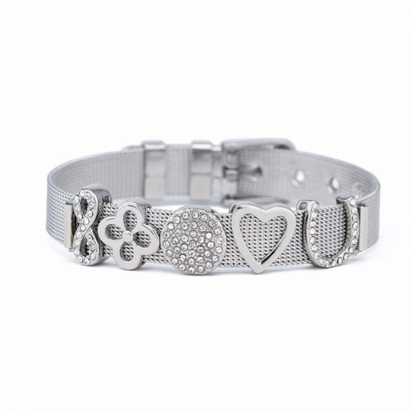 SOLID STAINLESS STEEL CRYSTAL BRACELET COMBINATION-S