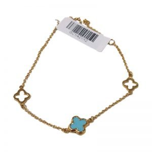 9ct solid yellow gold blue turquoise bracelet